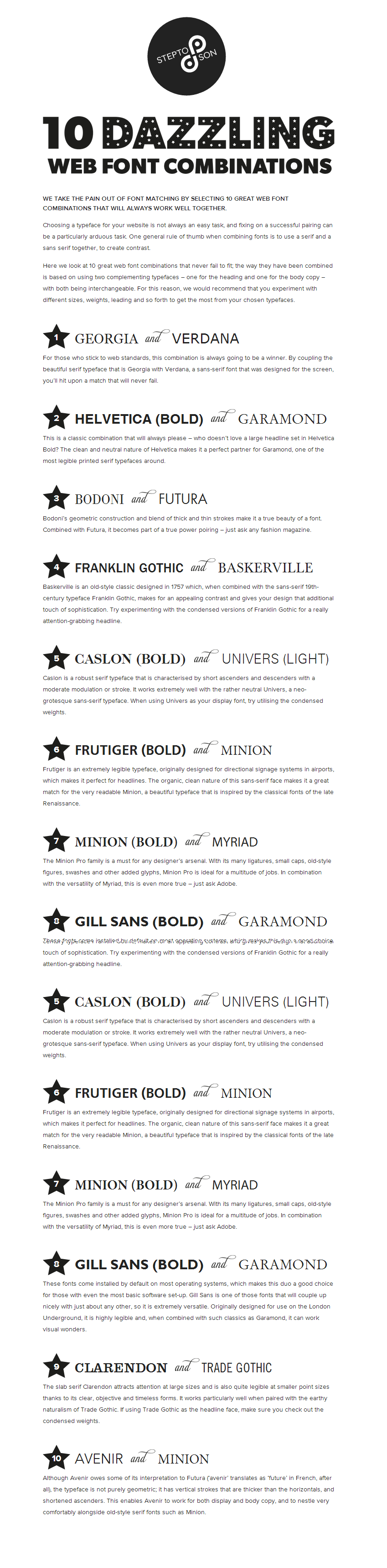 10 Great Web Font Combinations  What Font To Use On Resume