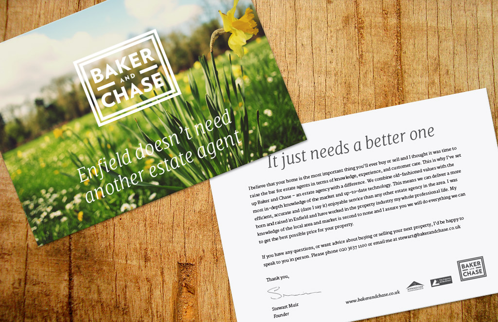 baker and chase estate agent postcards